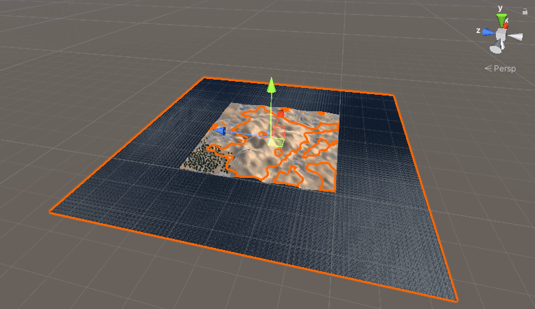 Scene view in Unity with a water shader added
