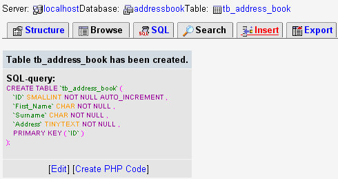 Php tutorials adding records to a phpmyadmin table - Create table mysql example ...