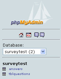 The two tables in the surveytest database